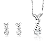 Small Diamond Pendant Set 0.5 Ct Solid Gold Natural Certified