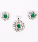 Diamond Pendant Set Designs 6.5 Ct Emerald Solid Gold Natural Certified