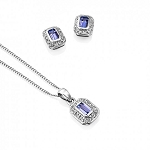 Gold Pendant Set With Earrings 3.15 Ct Diamond Iolite Solid Gold Natural Certified