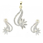 Diamond Pendant Set 2.4 Ct Solid Gold Natural Certified