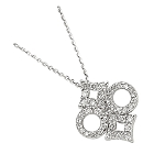 White Gold Pendnat 0.4 Ct Diamond Solid Gold Natural Certified