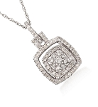 White Gold Diamond Pendant 1.11 Ct Solid Gold Natural Certified