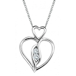 White Gold Pendnat 0.1 Ct Round Shape Diamond  Natural Certified