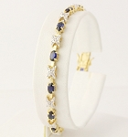 Eternity Bracelets 5.2 Ct Natural Untreated Diamond B. Sapphire Solid Gold Natural Certified