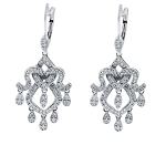 Diamond Hanging Earrings 2.25 Ct  Natural Certified Solid White Gold