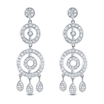 Drop Dangle Earrings 3.15 Ct Diamond  Natural Certified Solid Gold