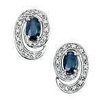 Gemstone Studs Earrings 1.92 Ct Diamond  B. Sapphire Natural Certified Solid Gold