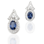 Sapphire Earrings 2.55 Ct Diamond  B. Sapphire Natural Certified Solid Gold
