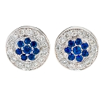 Gemstone Earrings 1.7 Ct Diamond  B. Sapphire Natural Certified Solid Gold