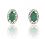 Gemstone Earrings 1.6 Ct Diamond Emerald Natural Certified Solid Gold