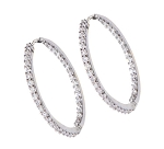 Large Hoop Earrings 1.5 Ct Diamond  Natural Certified Solid Gold