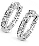 Hoops Diamond Earrings 0.62 Ct Wedding Natural Certified Solid White Gold