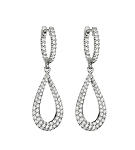 Diamond Dangle Earrings 2.02 Ct Natural Certified Solid White Gold