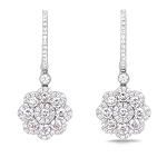 Diamond Hanging Earrings 3.02 Ct Natural Certified Solid Gold