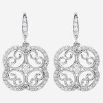 Diamond Dangle Earrings 2.02 Ct  Natural Certified Solid Gold Wedding