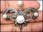 Wedding Brooches 1.2 Ct Uncut Sterling Silver Reproduction Vintage Fine jewelry Natural Certified