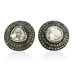 Art Deco Earrings 1.5 Ct Uncut Natural Certified Diamond 925 Sterling Silver Special Occasion