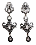 Victorian Diamond Earrings 2.5 Ct Uncut Natural Certified Diamond 925 Sterling Silver Engagement