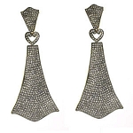 Antique Drop Earrings 4.35 Ct Uncut Natural Certified Diamond 925 Sterling Silver Wedding