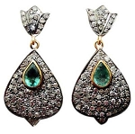 Victorian Earrings 2.7 Ct Uncut Natural Certified Diamond 925 Sterling Silver Workwear