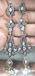 Rose Cut Earrings 3.9 Ct Uncut Natural Certified Diamond 925 Sterling Silver Party