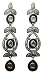 Victorian Earrings 3.45 Ct Uncut Natural Certified Diamond 925 Sterling Silver Vacation