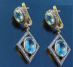 Victorian Drop Earrings 1.50 Ct Rose Cut Natural Certified Diamond Topaz 925 Sterling Silver Festive