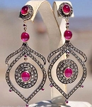Antique Drop Earrings 3.2 Ct Uncut Natural Certified Diamond 925 Sterling Silver Vacation