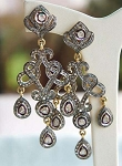 Antique Drop Earrings 3.5 Ct Uncut Natural Certified Diamond 925 Sterling Silver Everyday