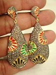 Vintage Drop Earrings 3.5 Ct Uncut Natural Certified Diamond 925 Sterling Silver Party