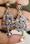 Antique Drop Earrings 3.1 Ct Uncut Natural Certified Diamond 925 Sterling Silver Wedding