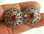 Victorian Earrings 1.5 Ct Uncut Natural Certified Diamond 925 Sterling Silver Workwear