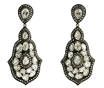 Victorian Drop Earrings 4.5 Ct Uncut Natural Certified Diamond 925 Sterling Silver Engagement