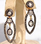 Antique Earrings 2.3 Ct Uncut Natural Certified Diamond 925 Sterling Silver Office Wear