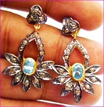 Victorian Drop Earrings 1.4 Ct Uncut Natural Certified Diamond 925 Sterling Silver Workwear