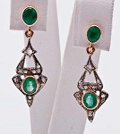 Art Deco Earrings 0.6 Ct Uncut Natural Certified Diamond 925 Sterling Silver Workwear