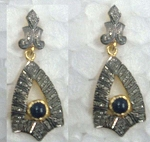 Victorian Drop Earrings 2.45 Ct Uncut Natural Certified Diamond 925 Sterling Silver Office Wear