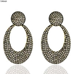 Art Deco Earrings 3 Ct Uncut Natural Certified Diamond 925 Sterling Silver Office Wear
