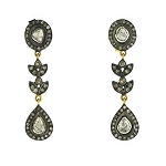 Antique Drop Earrings 1.7 Ct Uncut Natural Certified Diamond 925 Sterling Silver Wedding