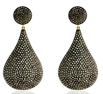 Uncut Earrings 4 Ct Uncut Natural Certified Diamond 925 Sterling Silver Party