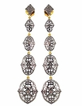 Antique Drop Earrings 1.5 Ct Uncut Natural Certified Diamond 925 Sterling Silver Festive