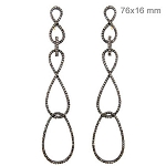 Polki Earrings 4 Ct Uncut Natural Certified Diamond 925 Sterling Silver Party