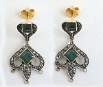Antique Drop Earrings 1.05 Ct Uncut Natural Certified Diamond 925 Sterling Silver Workwear