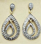 Rose Cut Earrings 3 Ct Uncut Natural Certified Diamond 925 Sterling Silver Everyday