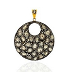 Polki Pendant 3.5 Ct Uncut Natural Certified Diamond 925 Sterling Silver Everyday