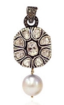 Victorian Diamond Pendant 0.65 Ct Uncut Natural Certified Diamond 925 Sterling Silver Office Wear