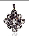 Art Deco Diamond Pendant 2.85 Ct Uncut Natural Certified Diamond 925 Sterling Silver Anniversary