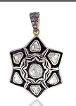 Vintage Art Deco Pendant 0.55 Ct Uncut Natural Certified Diamond 925 Sterling Silver Engagement