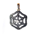Victorian Pendant 2.1 Ct Uncut Natural Certified Diamond 925 Sterling Silver Engagement