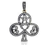 Art Deco Diamond Pendant 2.2 Ct Uncut Natural Certified Diamond 925 Sterling Silver Office Wear
